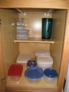 Tupperware cabinet after the purge