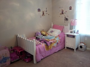 A clean bedroom - bed and nightstand