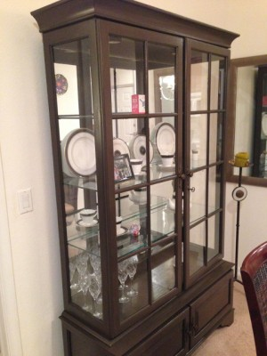 China cabinet after it was painted brown