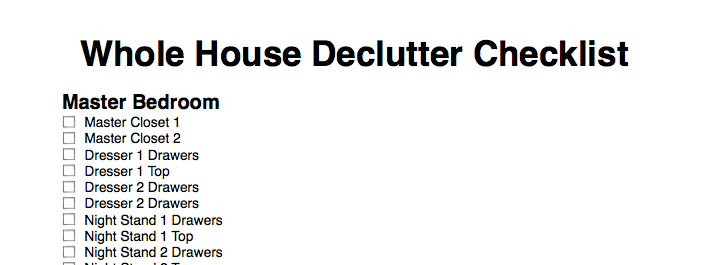 Whole house decluttering checklist for Declutter house plan